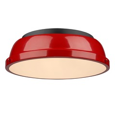 Golden Lighting Duncan Red Flushmount Light with Black Accent