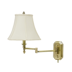 Swing Arm Lamp with White Shade in Antique Brass Finish