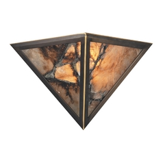 Sconce Wall Light with Amber Glass in Antique Brass Finish