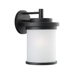 Modern Outdoor Wall Light with White Glass in Forged Iron Finish