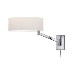 Modern Swing Arm Lamp with White Shade in Polished Chrome Finish