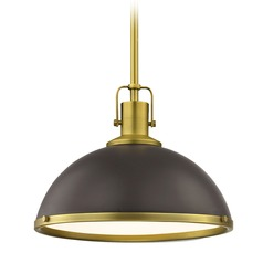 Nautical Bronze Pendant Light with Brass 13.38-Inch Wide