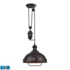 Elk Lighting Farmhouse Oiled Bronze LED Pendant Light with Bowl / Dome Shade
