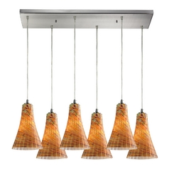 Elk Lighting Modern Multi-Light Pendant Light with Amber Glass and 6-Lights 10221/6rc-amf
