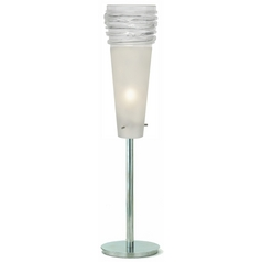 Oggetti Lighting Fili Satin Nickel Table Top Torchiere Lamp with Conical Shade