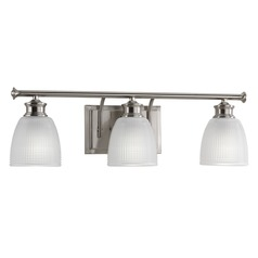Farmhouse Bathroom Light Prismatic Glass Brushed Nickel Lucky by Progress Lighting