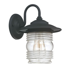 Seeded Glass Outdoor Wall Light Black Capital Lighting
