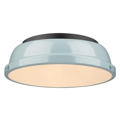 Golden Lighting Duncan Seafoam Flushmount Light with Black Accent