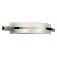 Kichler Polished Nickel Modern Bathroom Light with White Glass
