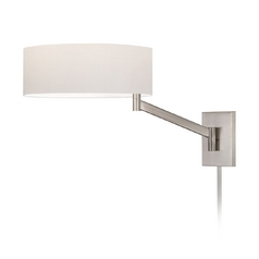 Modern Swing Arm Lamp with White Shade in Satin Nickel Finish