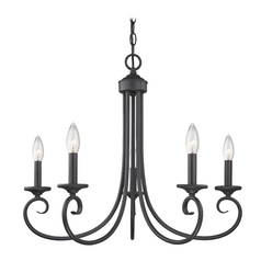Traditional Bronze Forge Candlestick Chandelier with Five Lights