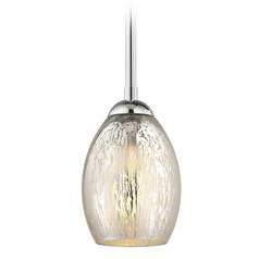 Chrome Mini-Pendant Light Mercury Glass Oblong