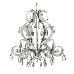 Crystal Chandelier in Polished Stainless Steel Finish