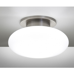 Holtkoetter Modern Semi-Flushmount Light with White Glass in Satin Nickel Finish