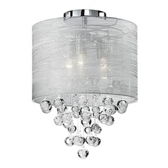 Kuzco Lighting Modern Chrome Semi-Flushmount Light with Textured Silver Shade