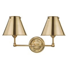 Hudson Valley Aged Brass Sconce with Aged Brass Metal Shade