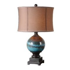 Table Lamp with Brown Shade in Blue / Charcoal Grey Finish