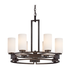 Chandelier with White Glass in Flemish Bronze Finish