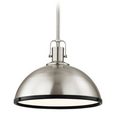 Nautical Pendant Light Satin Nickel and Black 13.38-Inch Wide