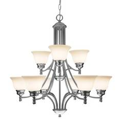 Satin Nickel Chandelier with Nine Lights