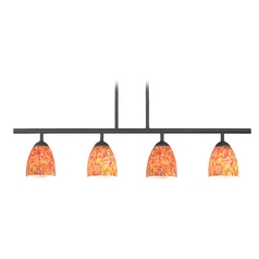 Modern Black Linear Pendant Light with Art Glass 4 Lt