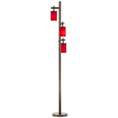 Neuvelle Bronze SODO Floor Lamp with Cylindrical Solid Red Glass Shade