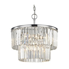 Two Tiered Crystal Chandelier Chrome