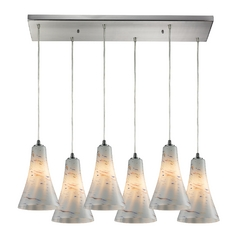 Elk Lighting Modern Multi-Light Pendant Light with White Glass and 6-Lights 10221/6rc-whs