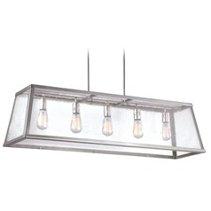 Feiss Lighting Harrow Polished Nickel Island Light with Rectangle Shade