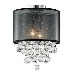 Kuzco Lighting Modern Chrome Semi-Flushmount Light with Textured Black Shade
