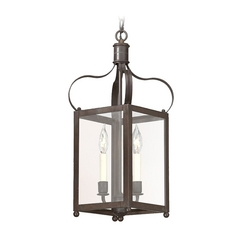 Pendant Light with Clear Glass in Natural Rust Finish