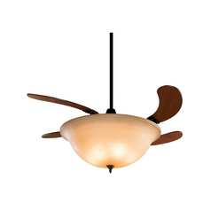 Ceiling Fan with Light with Amber Glass in Oil-Rubbed Bronze Finish