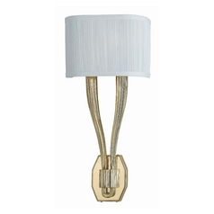 Sconce Wall Light with White Shades in Polished Brass Finish