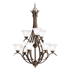 Kichler Lighting Kichler Chandelier with White Glass in Tannery Bronze Finish 2520TZ