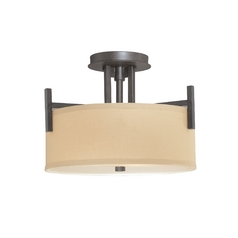 Semi-Flush light with Beige Drum Shade