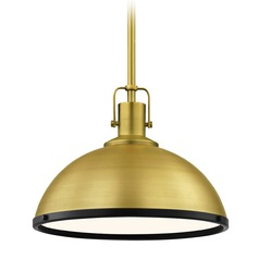 Industrial Metal Pendant Light Brass / Black 13.38-Inch Wide