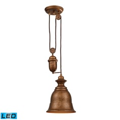 Elk Lighting Farmhouse Bellwether Copper LED Mini-Pendant Light with Bell Shade