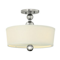 Retro Drum Ceiling Light with White Shade in Polished Nickel Finish