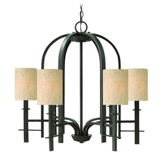 Chandelier with Beige / Cream Shades in Regency Bronze Finish