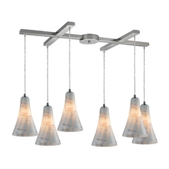 Elk Lighting Modern Multi-Light Pendant Light with White Glass and 6-Lights 10221/6whs
