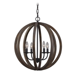 Feiss Lighting Allier Weather Oak Wood / Antique Forged Iron Pendant Light