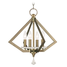 Livex Lighting Diamond Antique Brass Pendant Light