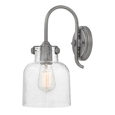 Antique Nickel Industrial Seeded Glass Wall Sconce by Hinkley Lighting