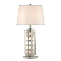 Satin Nickel Table Lamp with White Oval Lamp Shade 27.25-Inch Tall