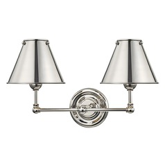 Hudson Valley Polished Nickel Sconce with Polished Nickel Metal Shade