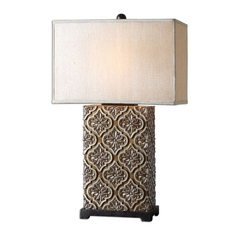 Table Lamp with Beige / Cream Shade in Golden Bronze Finish
