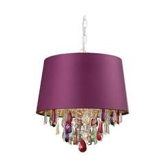 Drum Pendant Light with Purple Shade