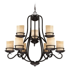 Chandelier with Amber Glass in Natural Iron Finish
