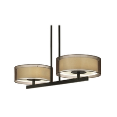 Modern Drum Island Light with Brown Shades in Black Brass Finish