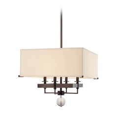 Modern Pendant Light with White Shades in Old Bronze Finish